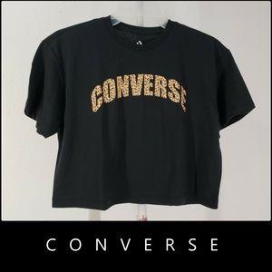 Converse Woman Short Sleeve Crop Top Size XS Black